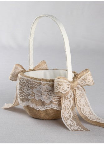 Country Romance Flower Girl Basket