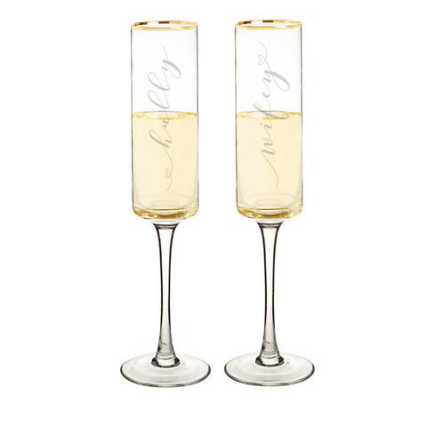 Hubby & Wifey 8 oz. Gold Rim Contemporary Champagne Flutes