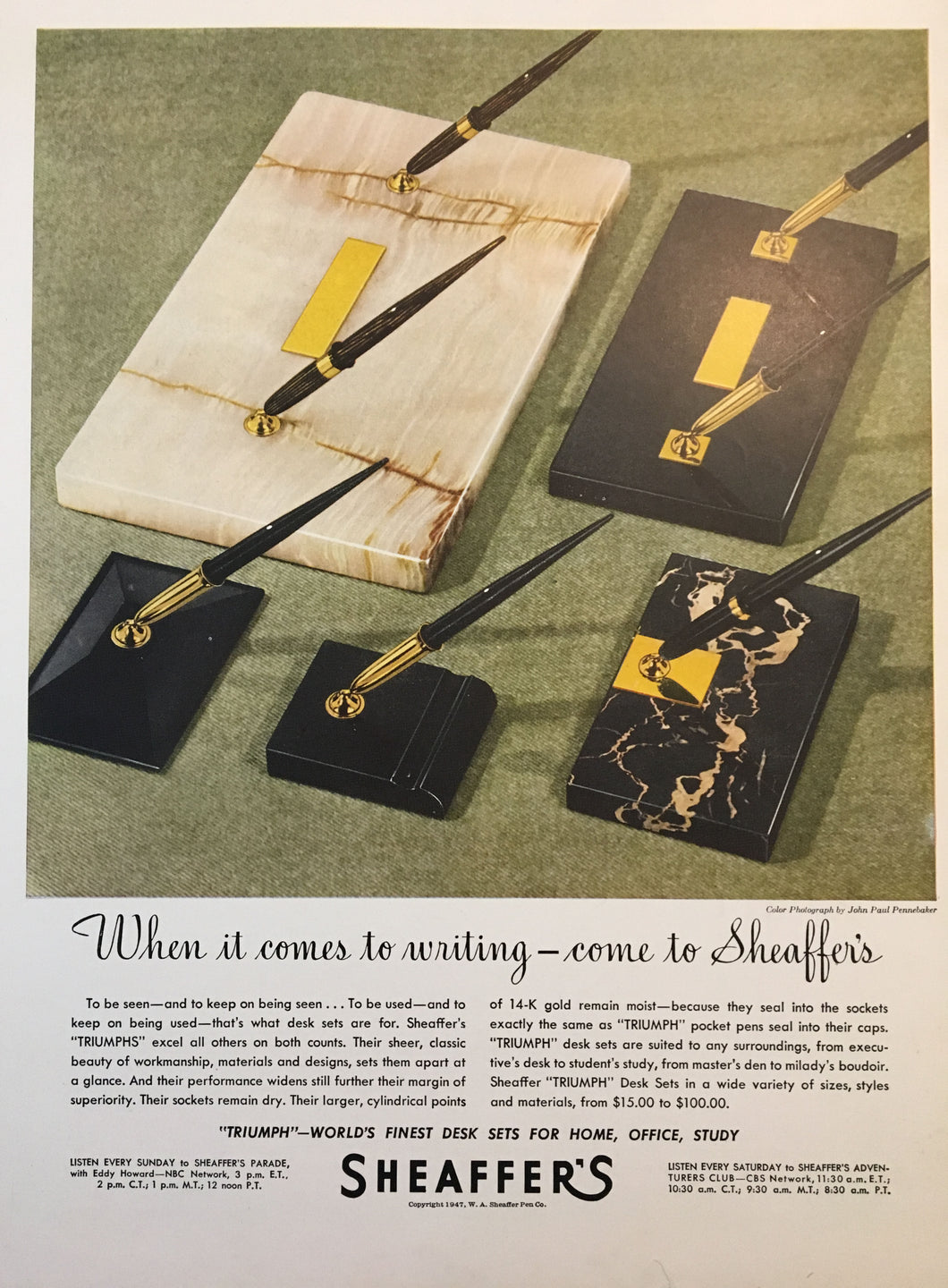 Sheaffer's Desk sets, Life Magazine November 17, 1947