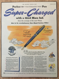 Vintage Ads. Mounted: Parker Vacumatic Super-Charged