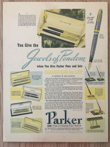 "Vintage Ads. Mounted: Parker Vacumatic, ""Jewels of Pendom"""