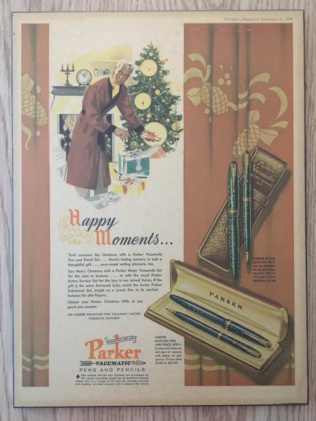 Vintage Ads. Mounted: Parker Vacumatic, this Christmas