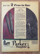 Vintage Ads. Mounted: Parker Duofold, 2 Pens in One