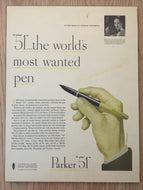 Vintage Ads. Mounted: Parker 51, the world's most wanted pen