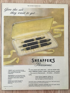 Vintage Ads. Mounted : Sheaffer's Triumph, Stratowriter & Fineline