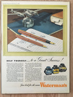 Vintage Ads. Mounted: Waterman's Inkquaduct Feed