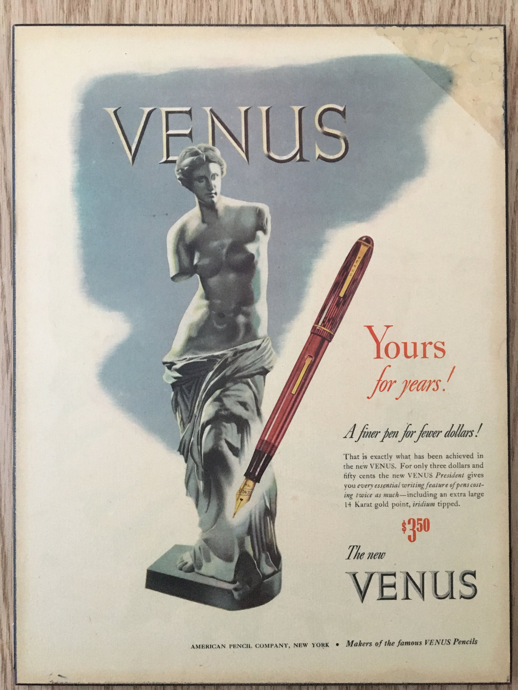 Vintage Ads. Mounted: the New Venus