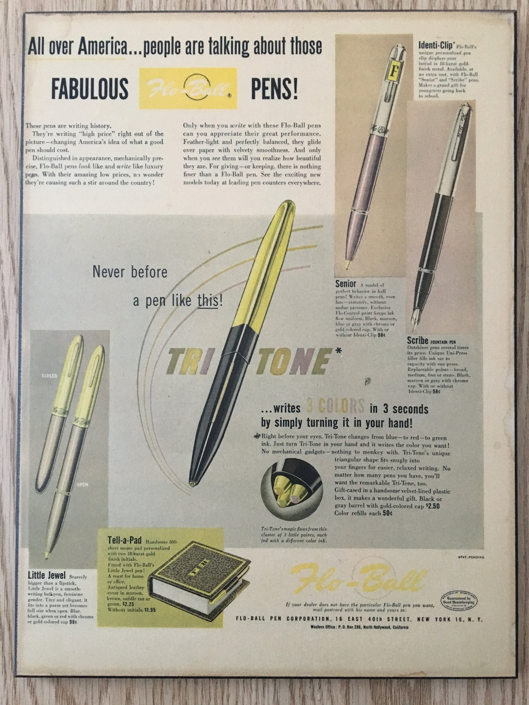 Vintage Ads. Mounted: Flo-Ball Pen Corporation