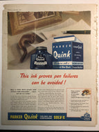 Vintage Magazine Advertising ; Parker Quink