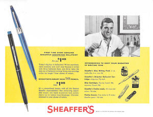 Sheaffer Utility Pencil, Pearl Marble cap  & Blue barrel