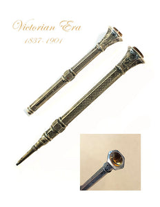 Victorian Pencil, Nickel plated, citrine stone