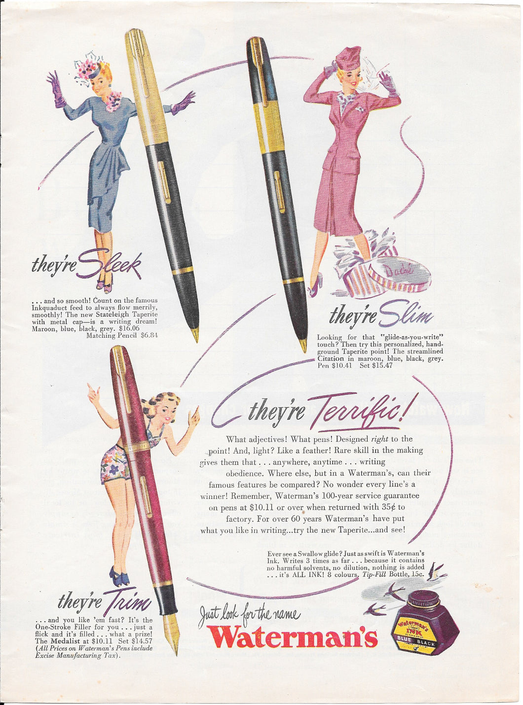Vintage Magazine Advertising, Waterman's Taperite