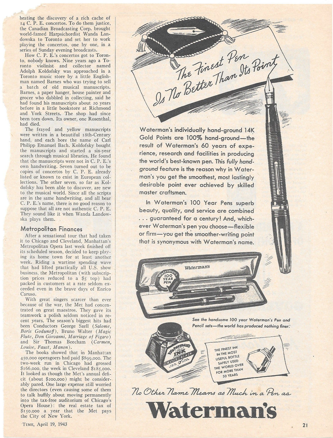 Waterman's 100 Year Pen, Black & White, Time Magazine 1943