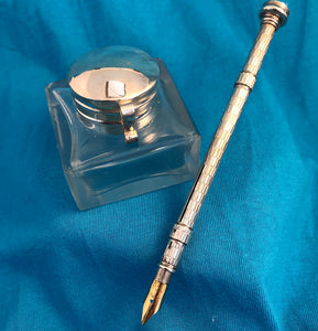 Victorian Pen-Pencil Ring-Slider & Inkwell