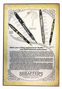 Vintage Ads. Mounted: Sheaffer's White Dot Lifetime. Balance