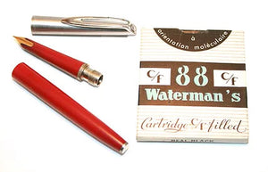 Waterman's c/f Stainless steel cap, Red barrel