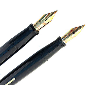 Eversharp black marble desk set, two pens,