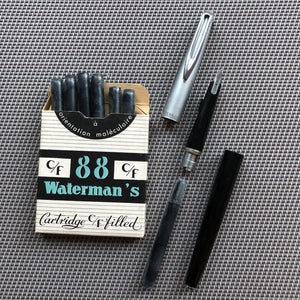 Waterman's c/f Stainless steel cap, black barrel