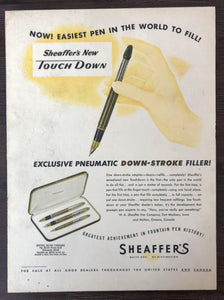 Vintage Ads. Mounted : Sheaffer's Touchdown