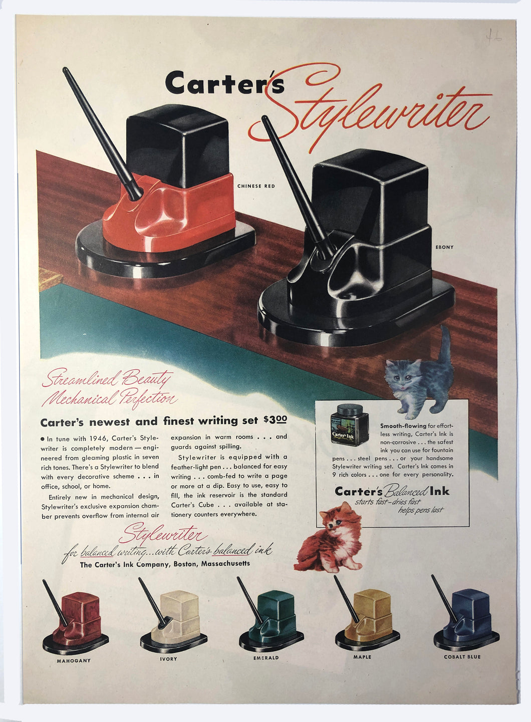 Vintage Magazine Advertising ; Carter's Stylewriter