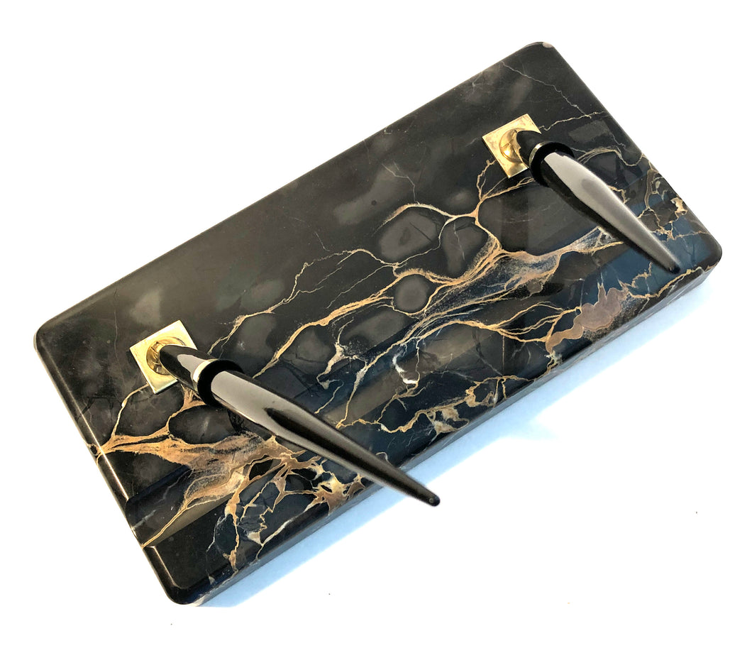 Desk set, two pens, Black & Gold marble