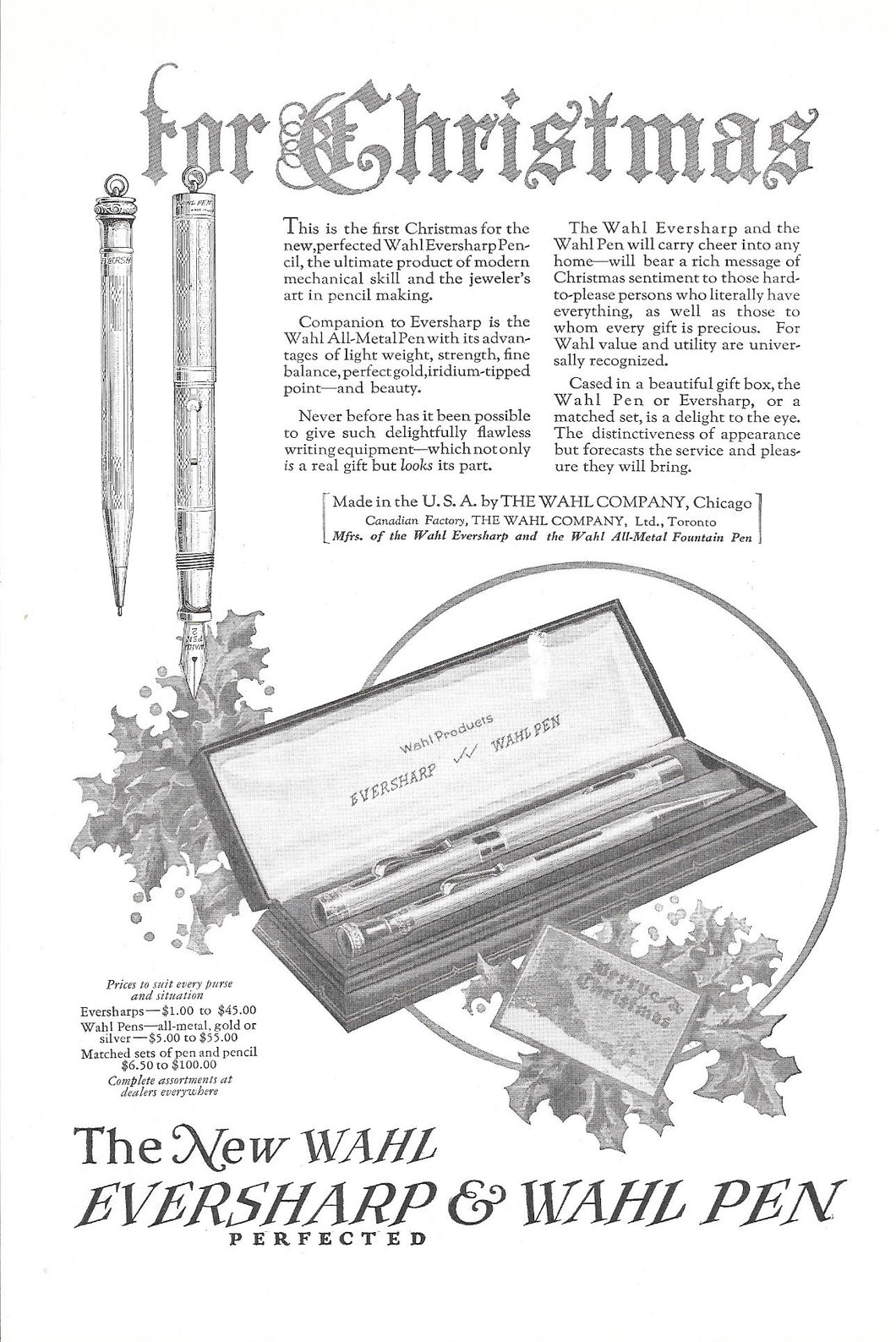 Vintage Magazine Advertising : Eversharp & Wahl Pen, Black & White