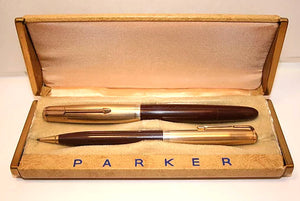 Parker 51 Vacumatic set, G/F cap & Cordovan Brown barrel