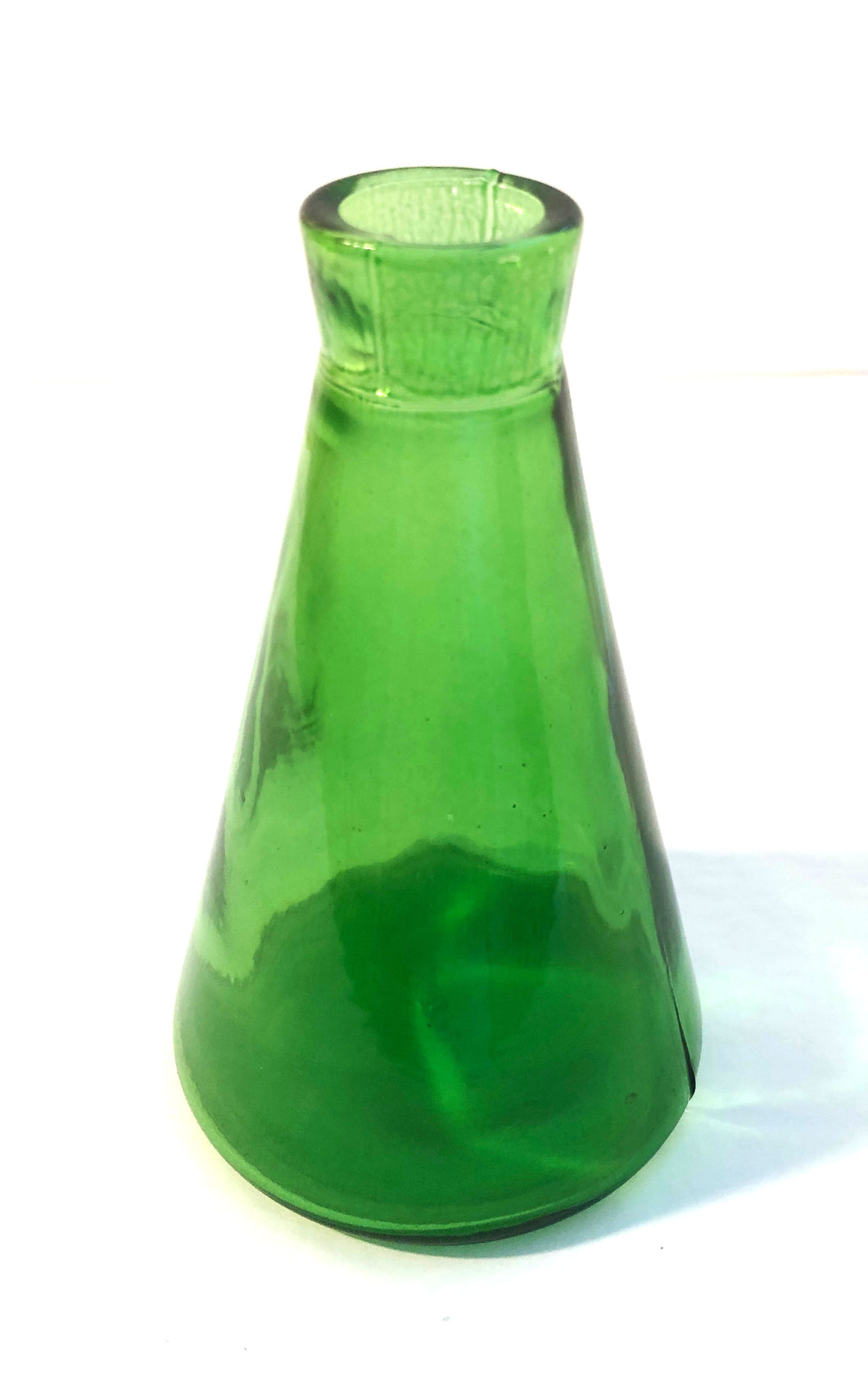 Conical Flask, green glass