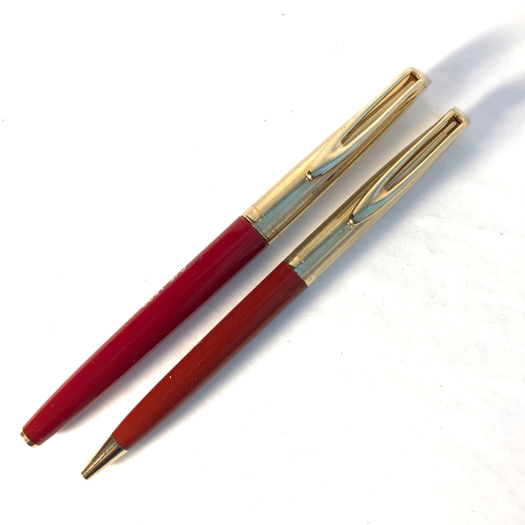 Waterman's c/f set, Fountain Pen & Ball pen, G/F cap Red barrel