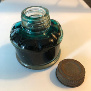 Ink Bottle, clear with metal screw on cap