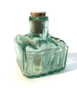 Ink Bottle, Green glass, empty
