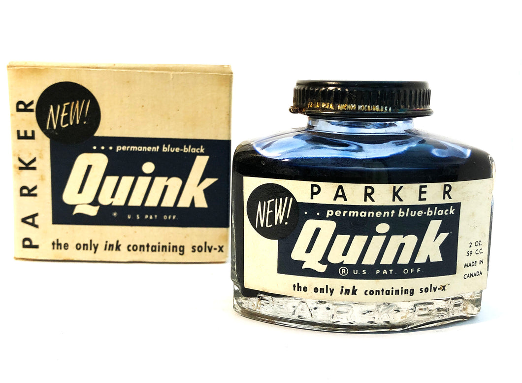 Ink Bottle, Parker Quink, Blue-Black