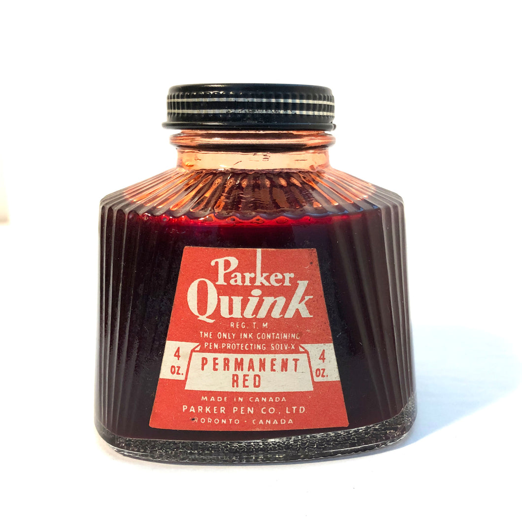Ink Bottle, Parker Quink, Red