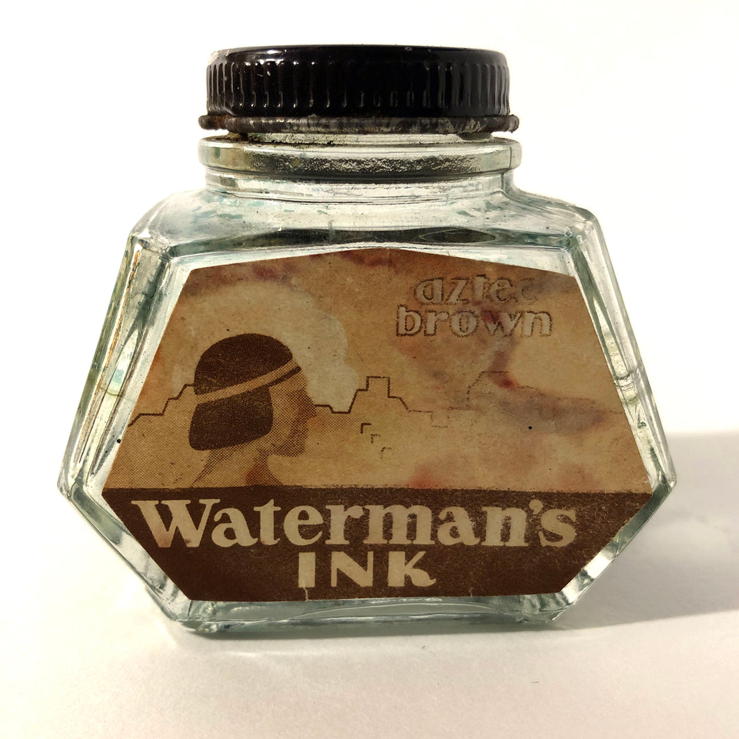 Ink Bottle, Waterman, 2oz.Aztec Brown, empty