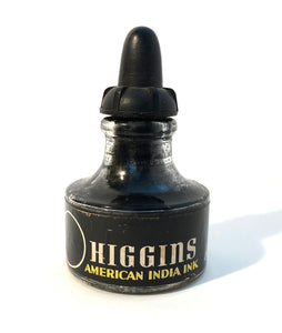 Ink Bottle, Higgin's, India Ink, empty