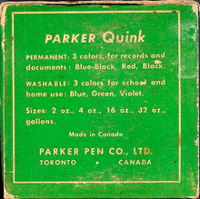 Load image into Gallery viewer, Ink Bottle, Parker Quink, Washable Green, empty