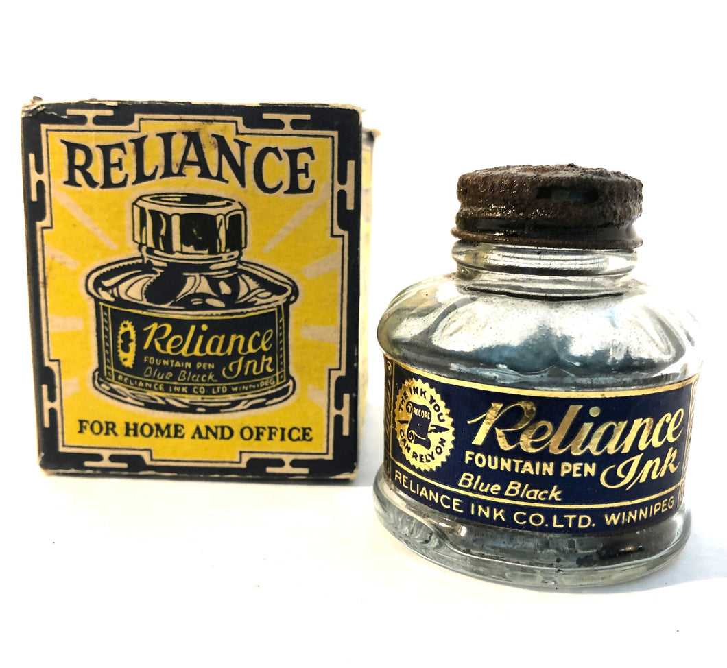 Ink Bottle, Reliance, Blue Black, empty