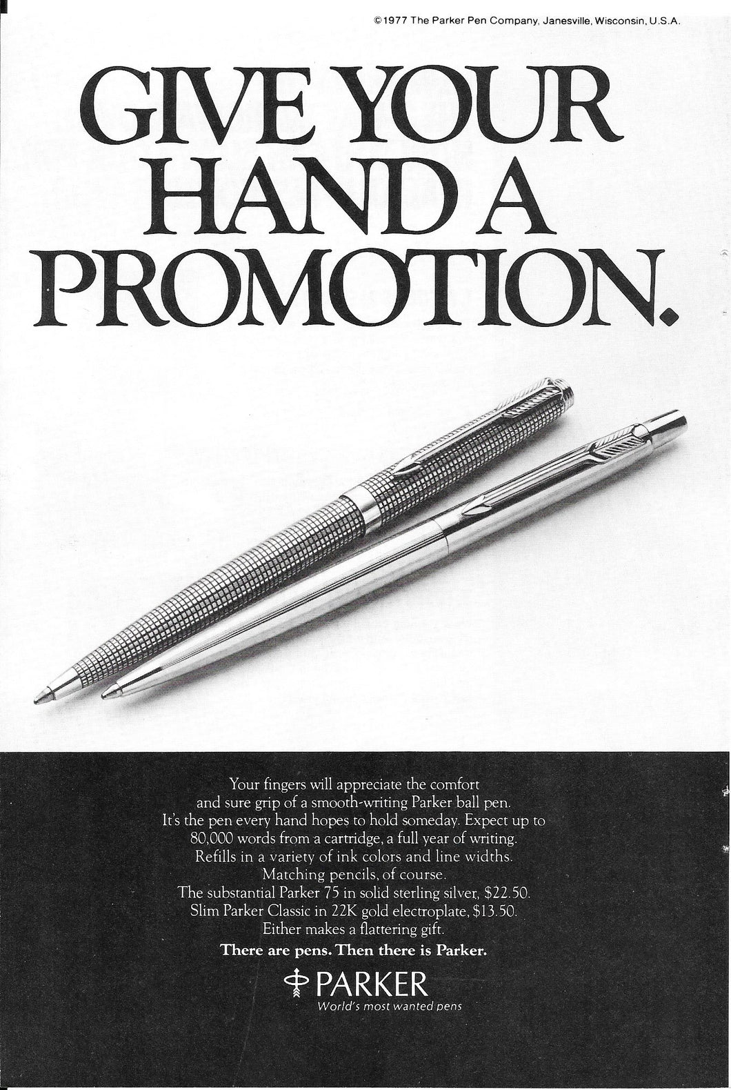 Parker 75 ballpoints, Black & White, copr. 1977