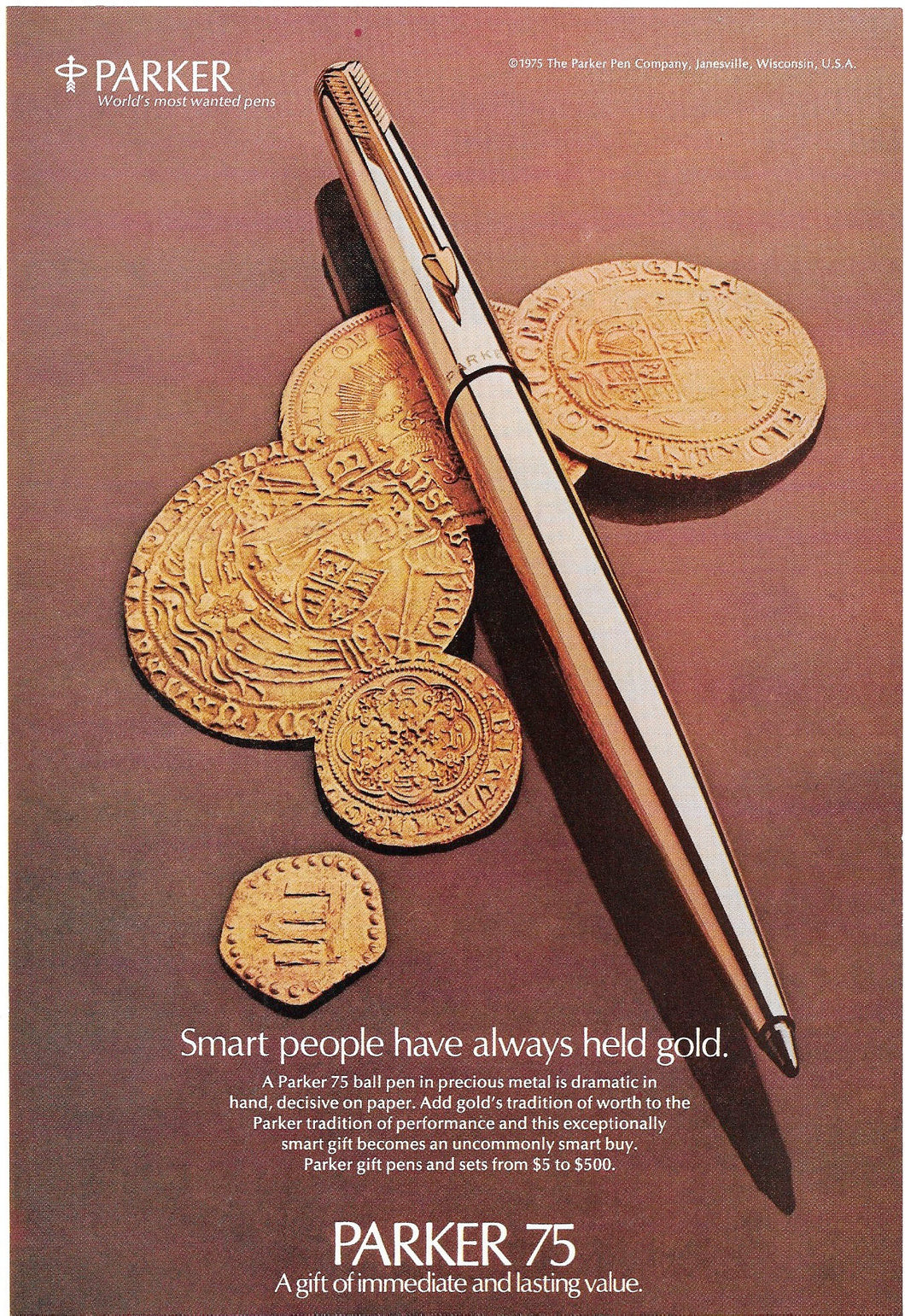 Parker 75, ballpoint, in precious metal, copr. 1977