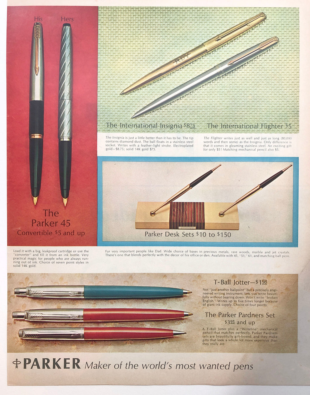Vintage Magazine Advertising ; Parker Jotter, Parker 45