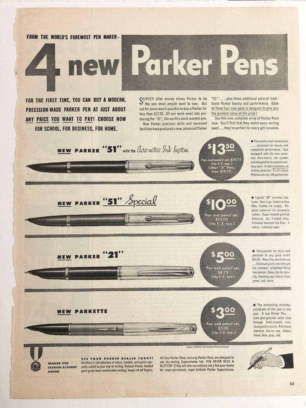 Vintage Magazine Advertising ; Parker 4 new