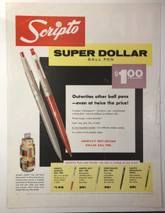 Vintage Magazine Advertising ; Scripto, Dollar pen