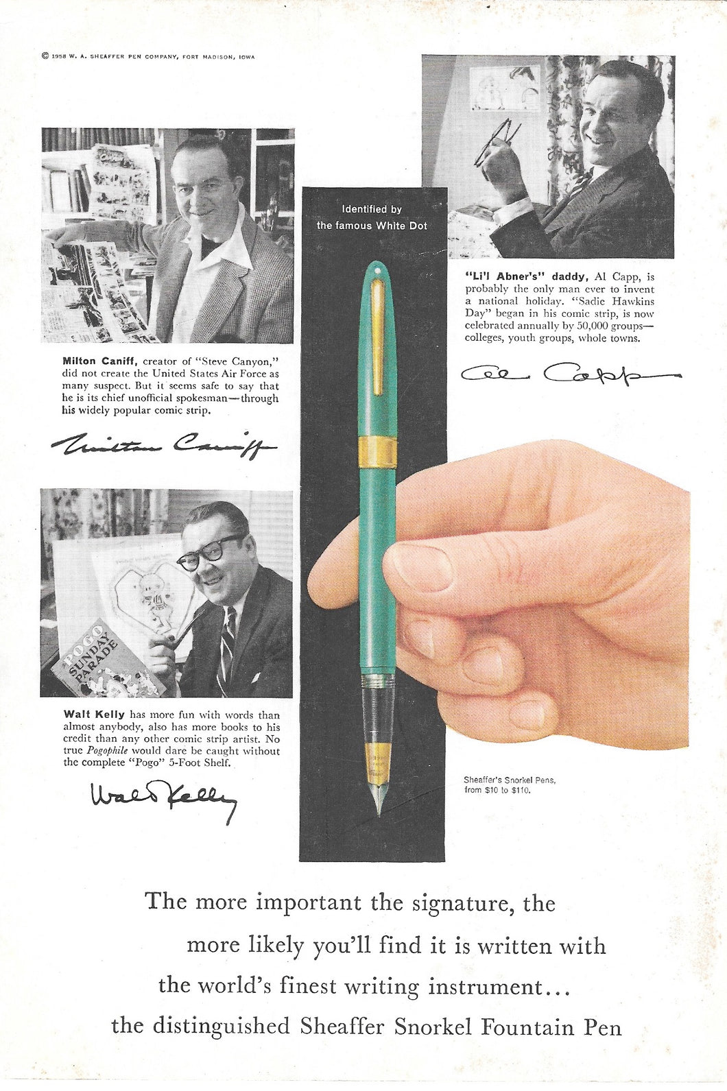 Sheaffer's Snorkel, White Dot, Green, Copr. 1958