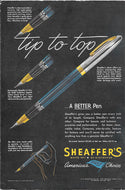 Sheaffer's Snorkel, Blue & Chrome cap, Copr. 1950
