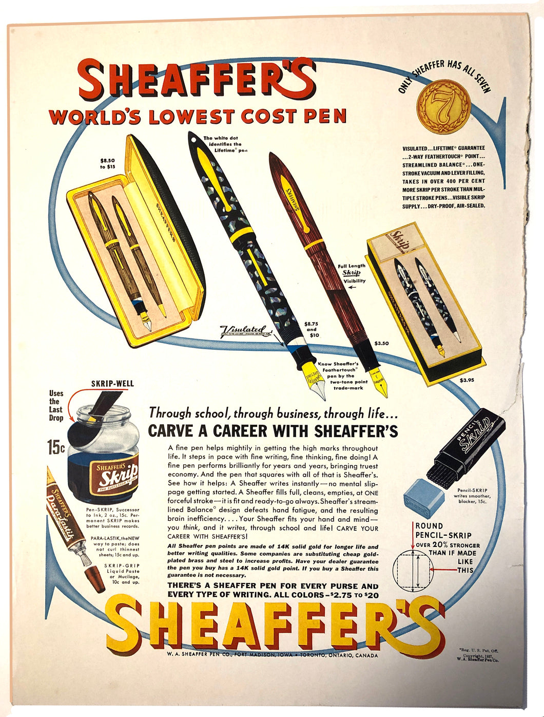 Vintage Magazine Advertising ; Sheaffer's, Visulated