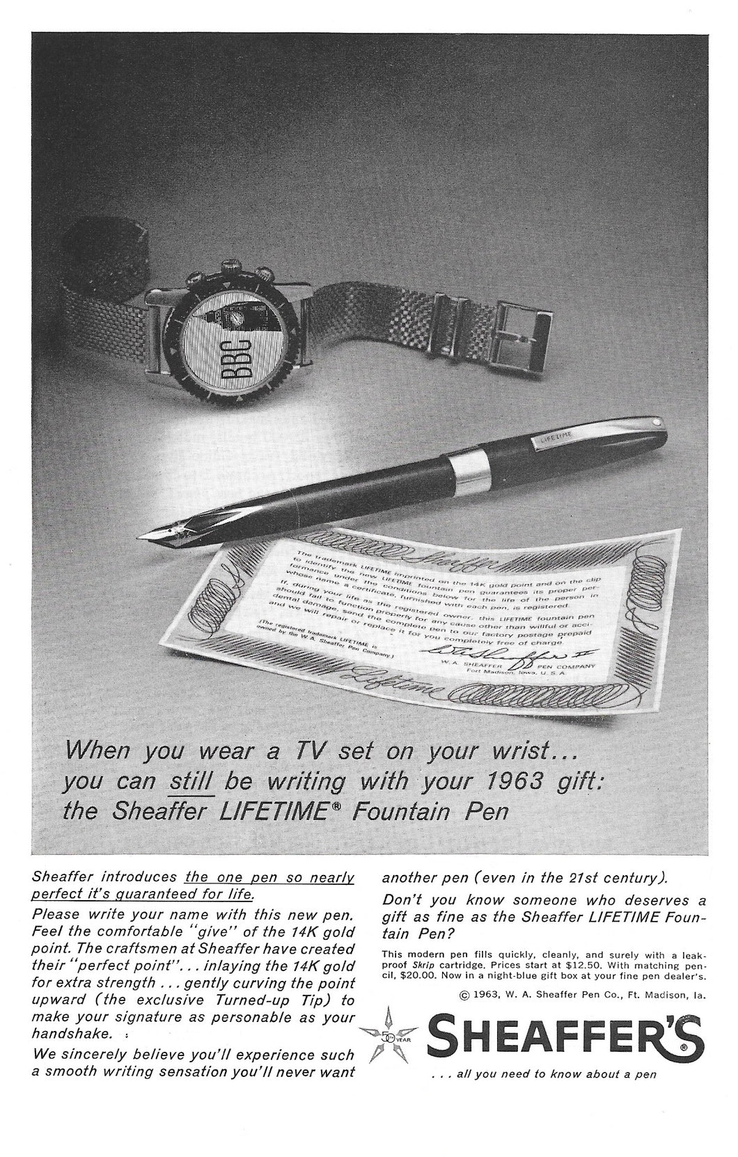 Sheaffer's LIFETIME, Black & White ad, Copr. 1963