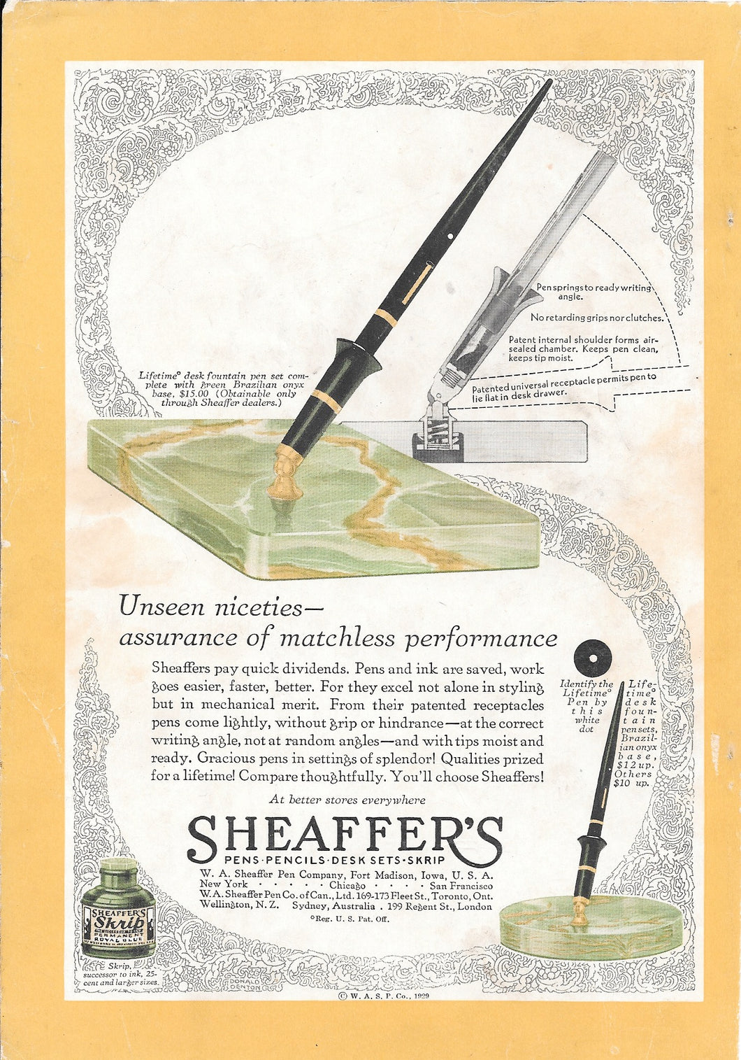 Sheaffer's LIFETIME desk sets, Copr. 1929