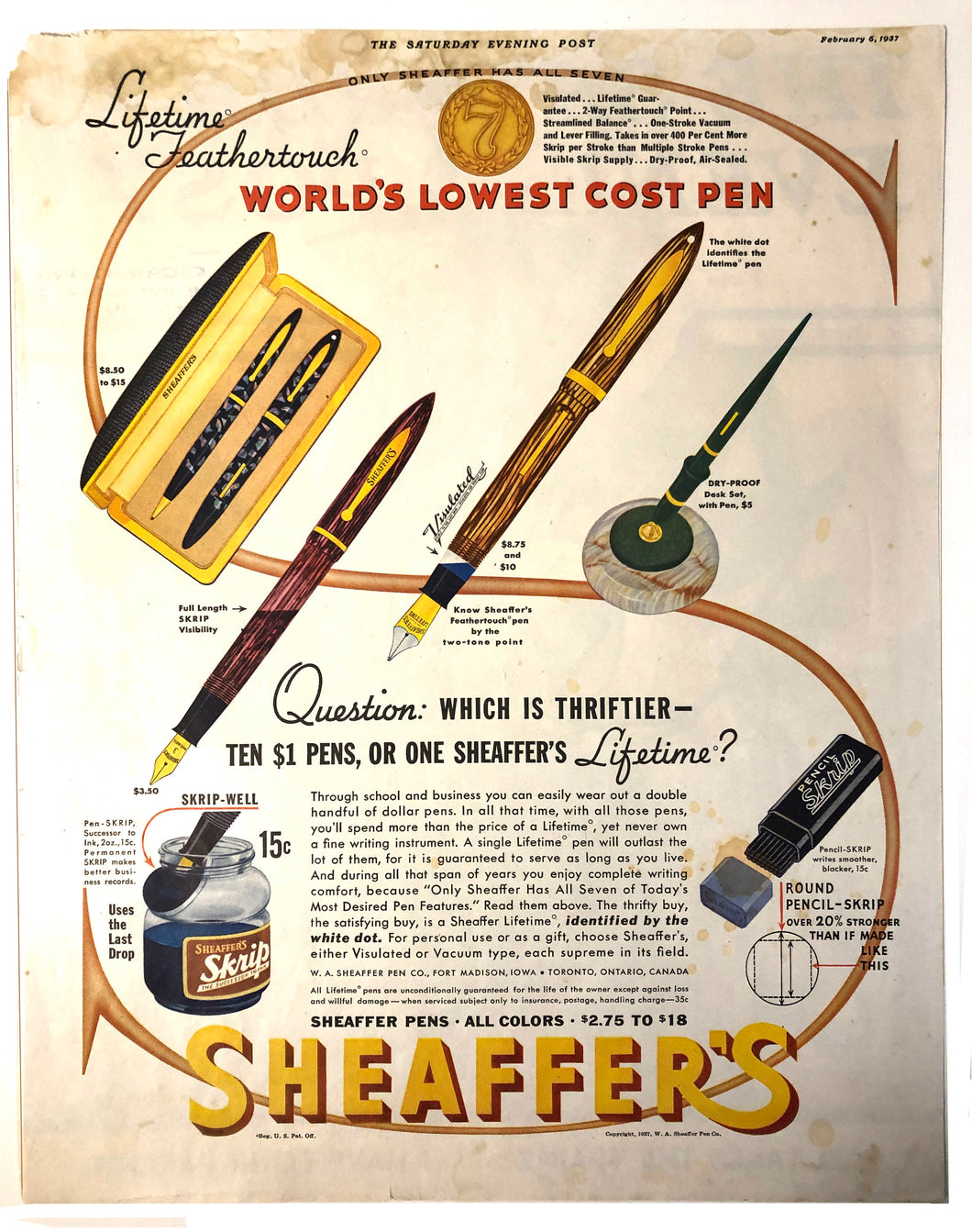 Sheaffer's Visulated, The Saturday Evening Post, February 6, 1937