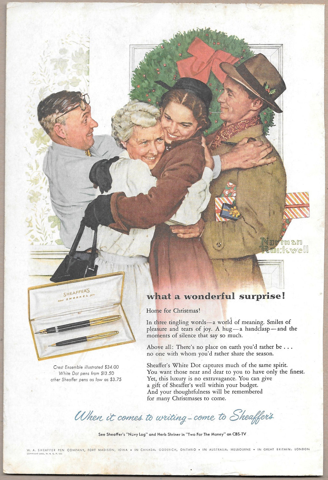 Sheaffer's Snorkel Christmas , copr. 1955