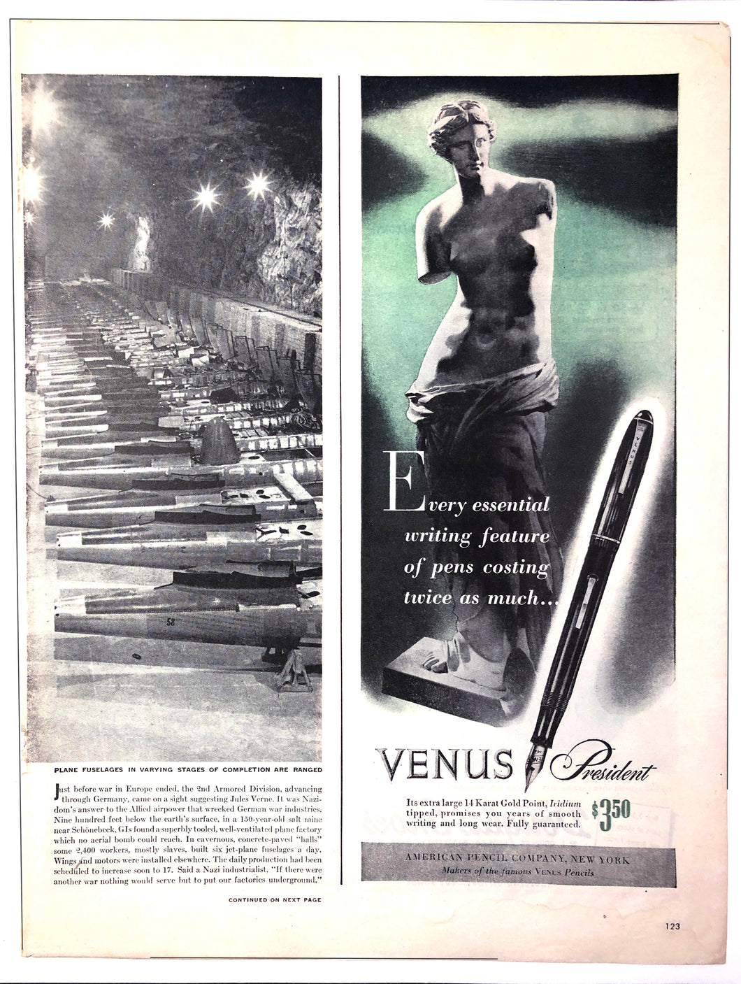 Vintage Magazine Advertising ; Venus